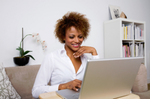 Woman shopping on computer
